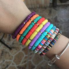 BP1005 Trial Jewelry Colorful Bohemian African Vinyl Discs Polymer Clay Disc Heishi Beads Elastic Bracelets
