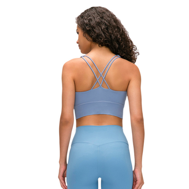 new style shoulder belt shockproof yoga sports bra women