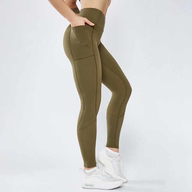 new splicing Pocket Yoga Pants double-sided Nylon high elastic tight sports high waist fitness pants for women