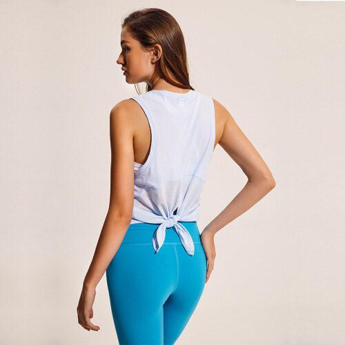 Cross border new style yoga vest T-shirt women's fitness running fashion bandage quick drying breathable loose sleeveless blouse