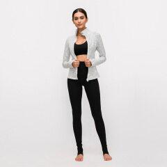 2020 new yoga sports coat women's nylon elastic zipper running Yoga long sleeve top