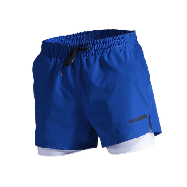 New men fast dry double-layer Fitness Track and field training shorts