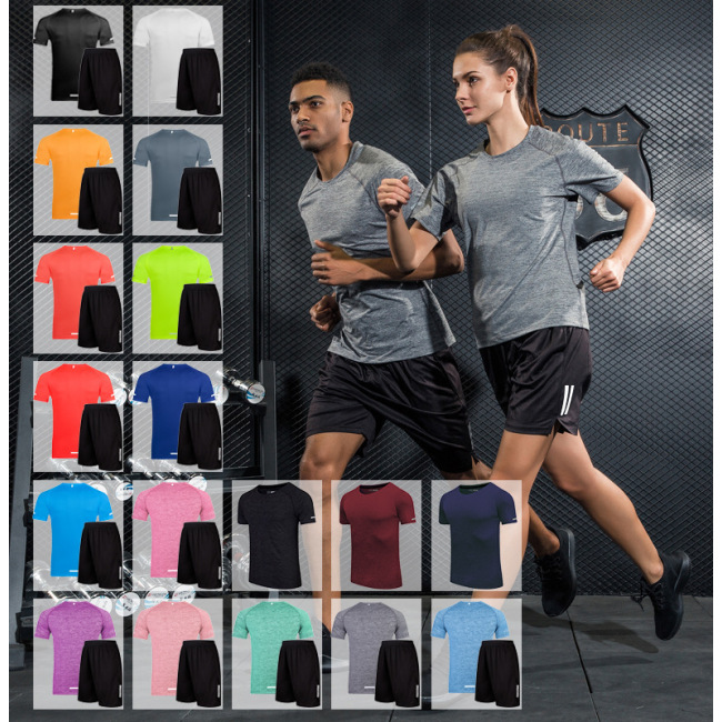 Sports short sleeve men's summer team fitness quick dry T-shirt leisure training
