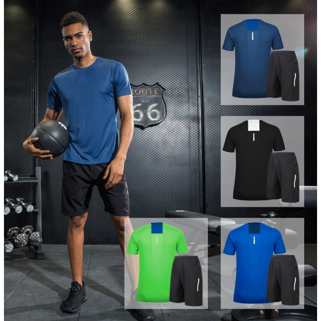 Men's short sleeve running reflective sports fitness training quick dry t-shirt