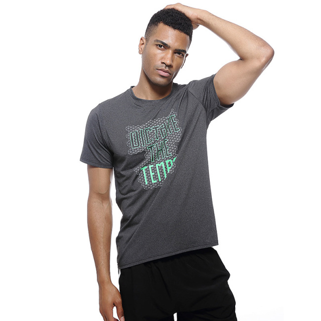 New quick dry short sleeve running fitness clothes men's training basketball  casual sports T-shirt