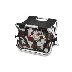 Collapsible sports fishing chair with cooler bag