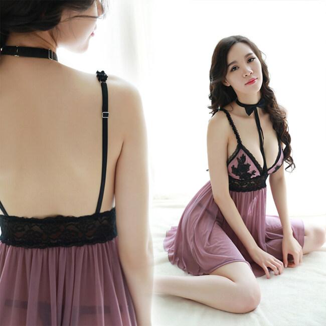 Women Sexy Lace Lingerie Strappy Dress Set Sheer Sleepwear