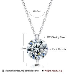 GOMAYA 925 Sterling Silver Pendant Necklaces For Women Romantic Dazzling 5A Clear Cubic Zirconia Necklace Wedding Fine Jewelry