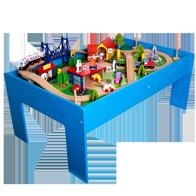 Cheap Educational Wooden Table Full Set Assemble Railway Train Tracks Toys for Kids