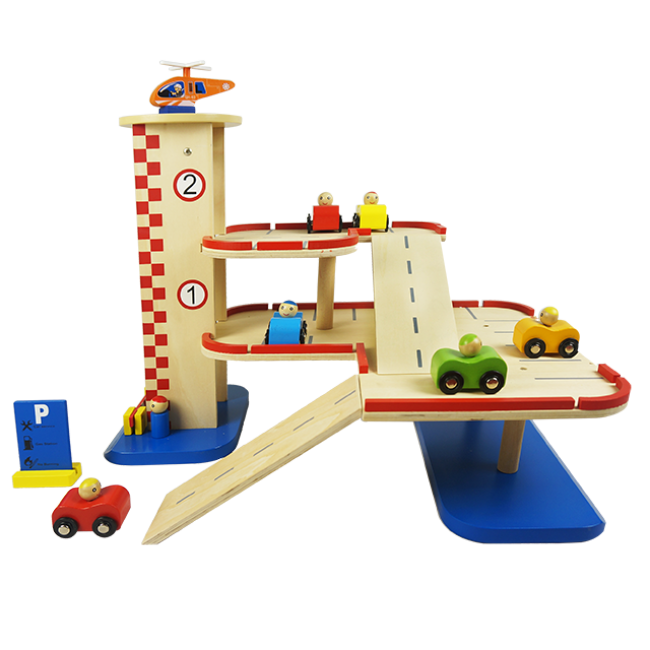 Three-Story Wooden Toy Gas Station Parking Lot Simulated Parking Lot Wooden Toy