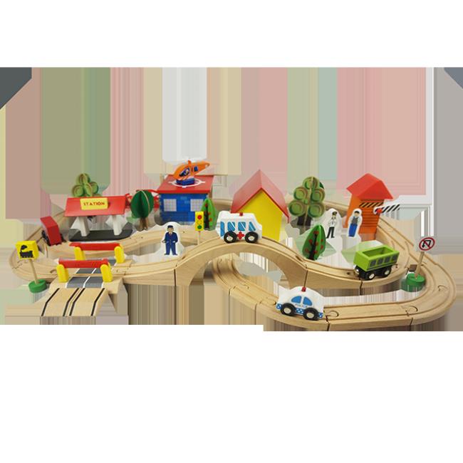 Indoor Traffic Toys Children′s Railway Car Building Blocks Wooden Car Track