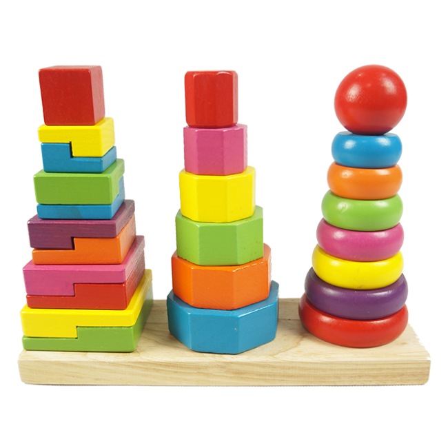 Top Selling Wooden Shape Tower Chriden Cute Wooden Stacker Toy Shape Tower