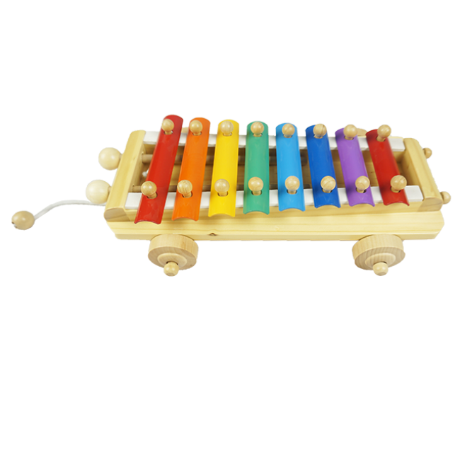 High-Quality Wooden Music Car Children Like Music Pulled Wooden Music Toy