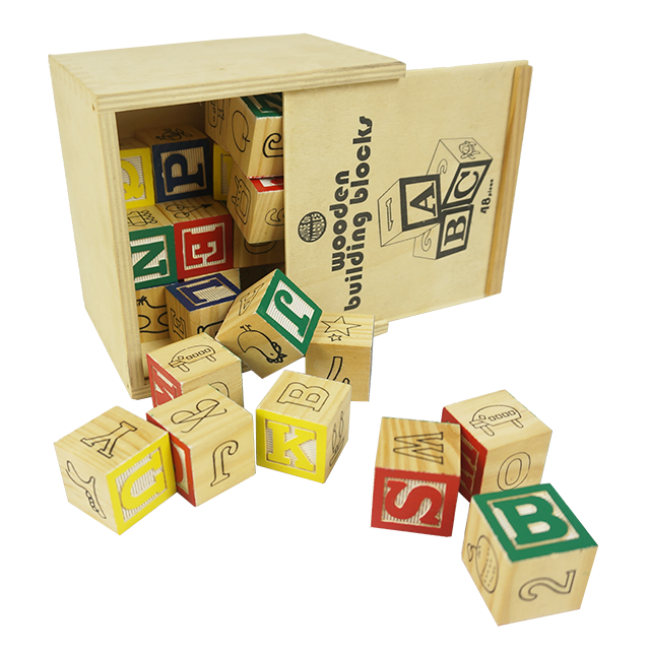 Children Colorful Learning Wood Alphabet Blocks Letters Cube Stacking Building Block