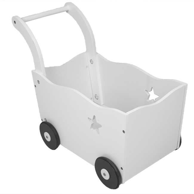 XL10220 Wooden Play House Toys White Shopping Cart