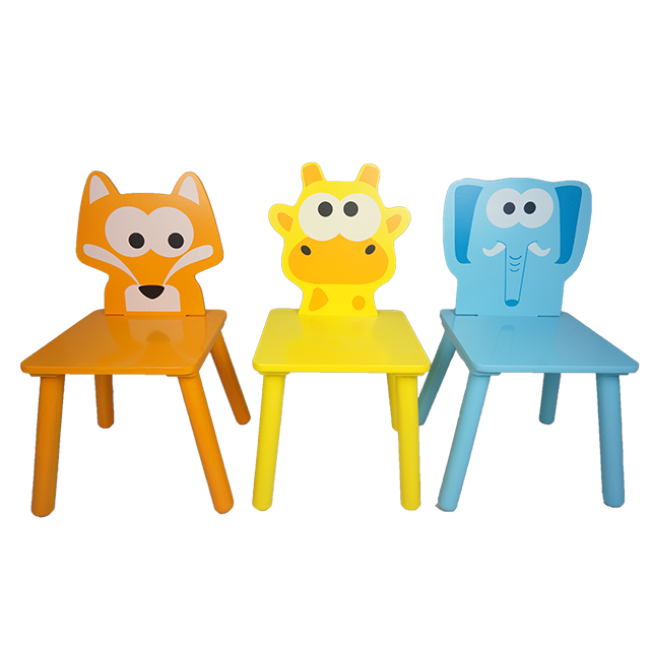 New Different Cartoon Design Children Wood Chair Kids Feeding Chair