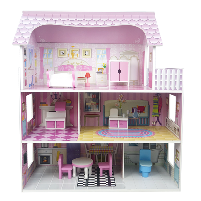 The Popular Wooden Doll House The Children Love Wooden Doll House The Wholesale Price of Wooden Doll House Game Play House