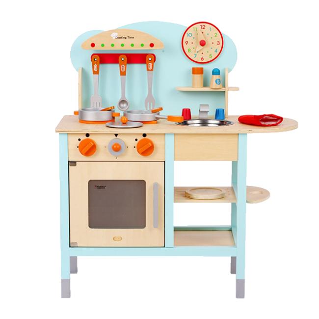 XL10180 Wooden Doll Kitchen Toy with Kitchen Accessories for Kids and Children