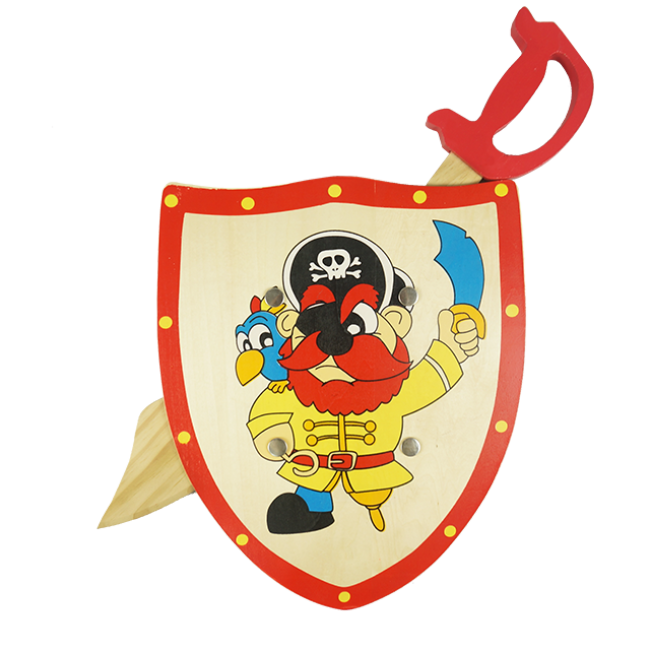 Children′s Favorite Outdoor Wooden Toys Series Pirates Wooden Knife and Wooden Shield High Quality Wooden Outdoor Toys