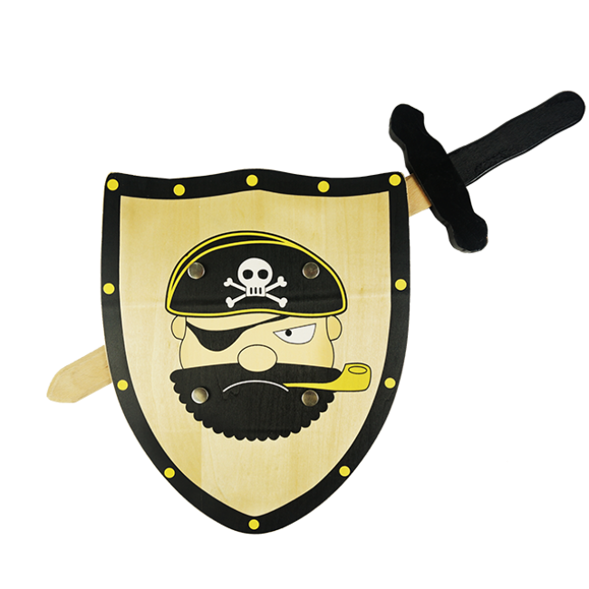 Children′s Favorite Outdoor Wooden Toys Series Pirates Wooden Sword and Wooden Shield High Quality Wooden Outdoor Toys