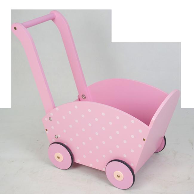 XL10219 Wooden Children Toys Pink Shopping Trolley