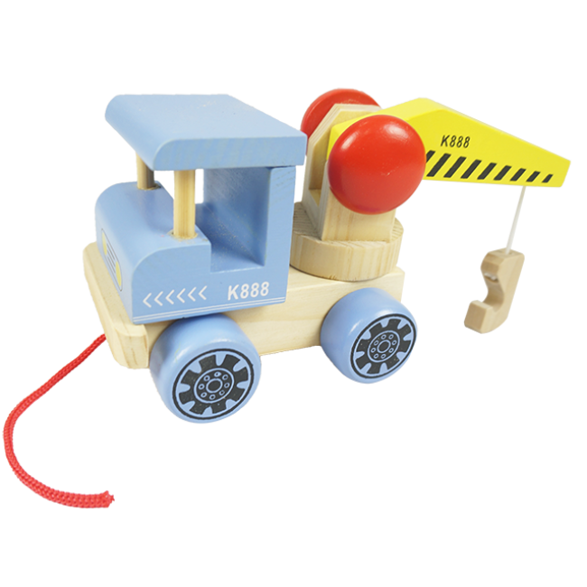 XL10085 New Design Pull Along Pull String Wooden Toy for Kids Crane Toy