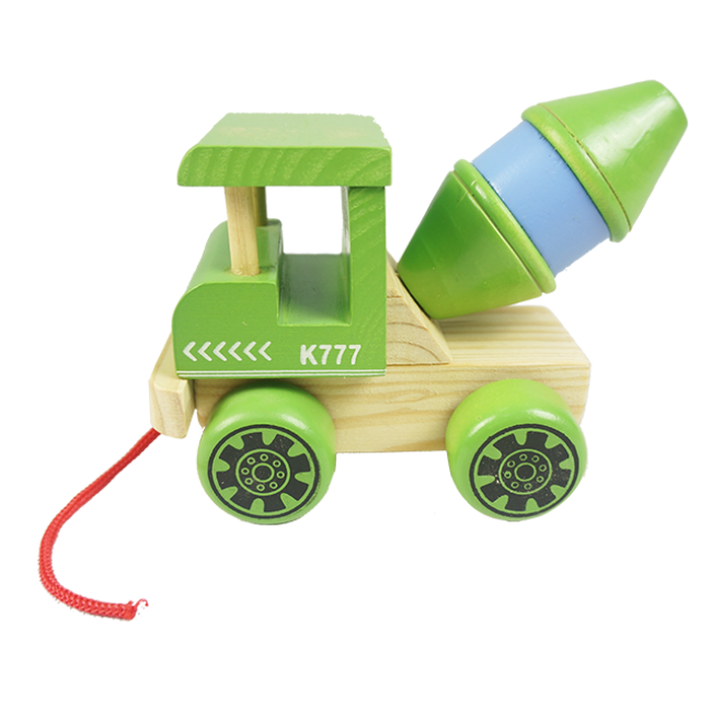 XL10086 100%Handmade Natural Fsc Wooden Camion Pull Toy for Kids, Wooden Pull Along Wood Toy
