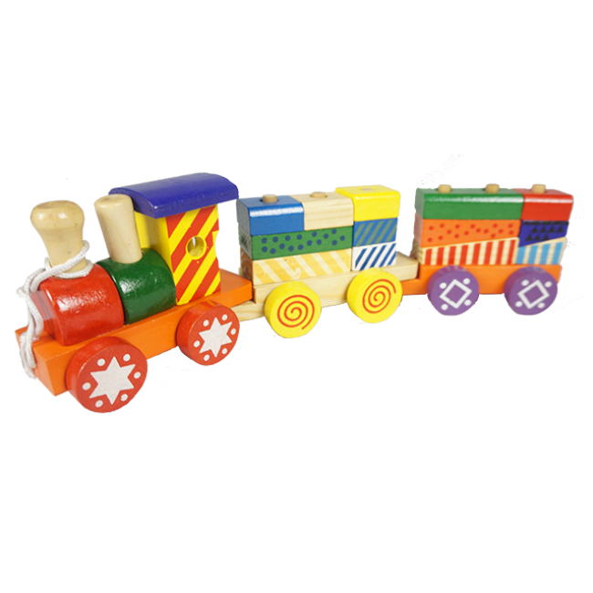 Wooden Train with Colorful Wooden Blocks