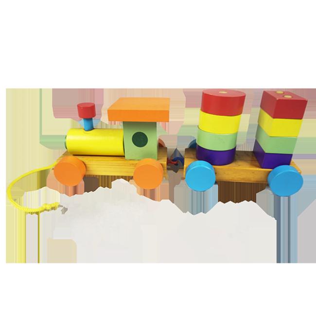 XL10127 Mini Educational Kids Toy Wooden Toy Train Push Train Toy Building Blocks Train Sets Toys