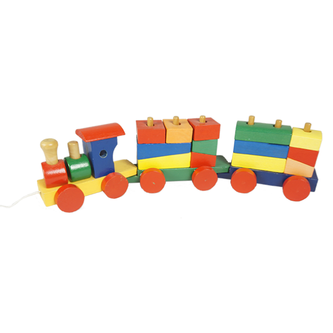 Multi-Functional Wooden Train with Colorful Wooden Blocks