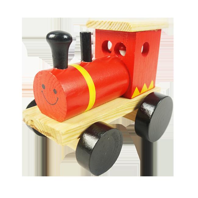 Wooden Smiley Face Design Locomotive Wholesale Wooden Toy Locomotive