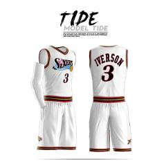 2019 hot sale custom Men Youth Allen Iverson Basketball Jersey Sets polyester Uniform kits Adult Sports shirts clothing Breathable basketball jerseys shorts