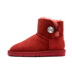 New W Mini Bailey Bling Women Winter Snow Boots Fashion Australia Short bow boots Ankle Knee Bow girl mini Bailey Boot red 36-40 size