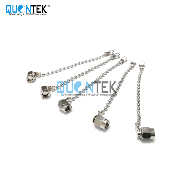 SMA female metal protective cap, nickel plated, with chain