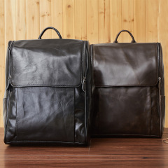 New leather men's bag Korean fashion casual men's double shoulder bag top layer leather black computer backpack