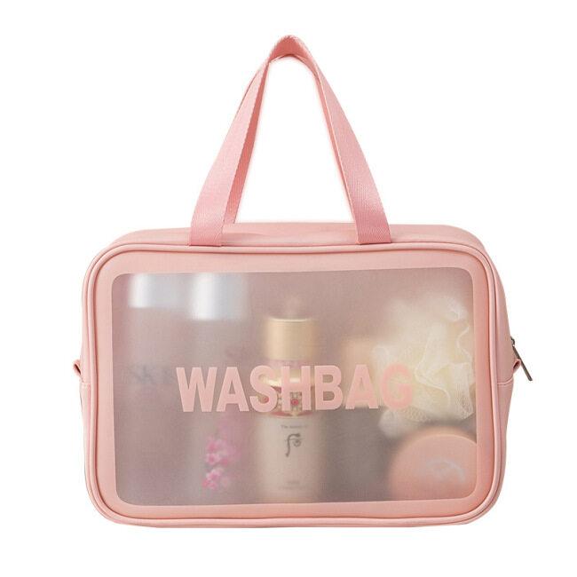 Net red Pu transparent storage bag large capacity portable travel waterproof washing bag PVC transparent bag cosmetic bag customized