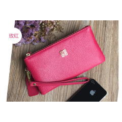 First layer cowhide 2020 new women's zipper European and American long large banknote wallet wallet leather hand bag