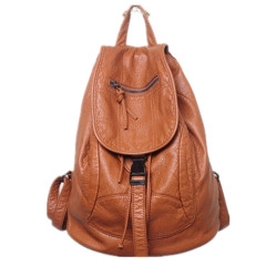 Soft leather backpack bag women's new washed sheepskin double shoulder bag net red leather women's bag leisure school bag