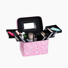 Version multi-functional portable Cosmetic Case Cosmetic Beauty Nail Kit wrinkle chrysanthemum storage box