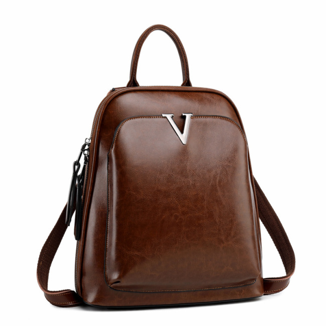 2020 New Leather Shoulder Bag Fashion oil wax leather backpack women's Retro schoolbag