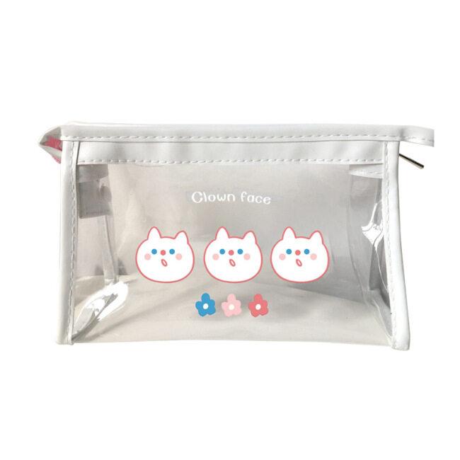 Art blue transparent make-up bag women ins waterproof storage bag girl heart portable travel storage bag hand wash bag