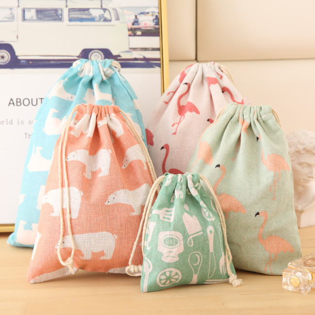 Self produced and self sold cotton and hemp drawstring storage bag clothing sorting bag travel shoes bundle pocket sundry underwear bag