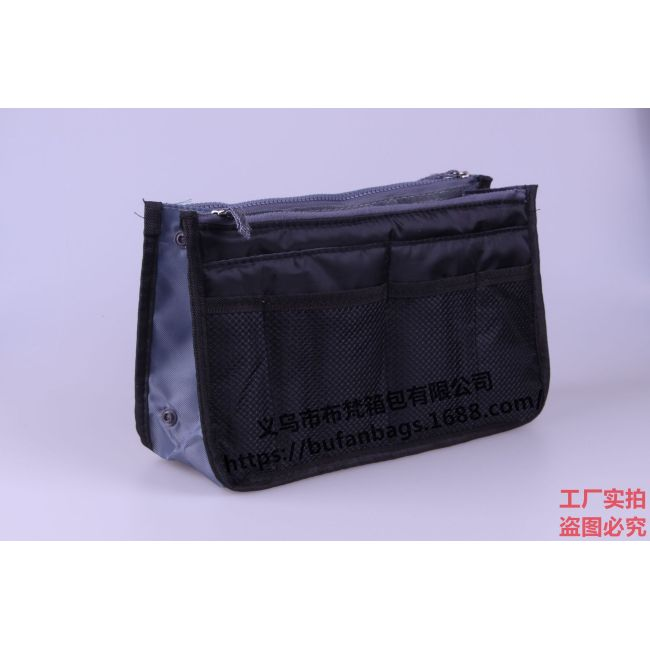 Bufan's portable double zipper bag, middle bag, multifunctional storage bag, washing and cosmetic storage bag, large finishing bag