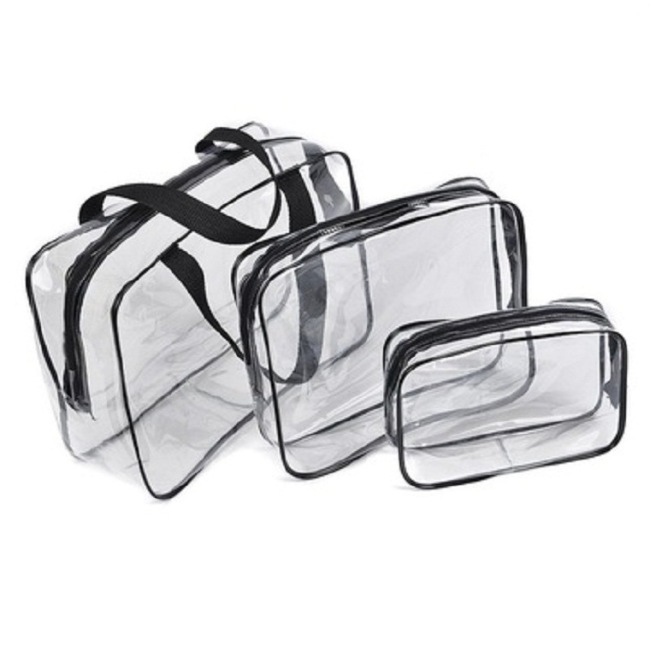 Manufacturer's PVC multi-functional storage bag storage bag wash gargle make-up bag transparent three piece set finishing bag customized logo