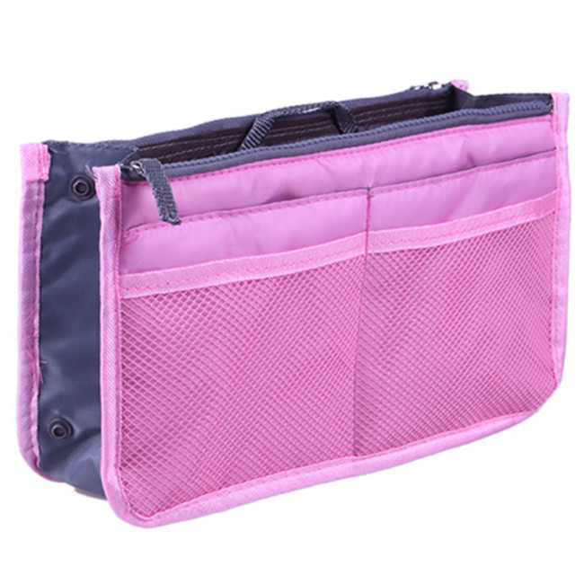 New style Korean double zipper silk cotton bag middle bag storage bag multi function bag medium bag make up bag 16 color wash bag