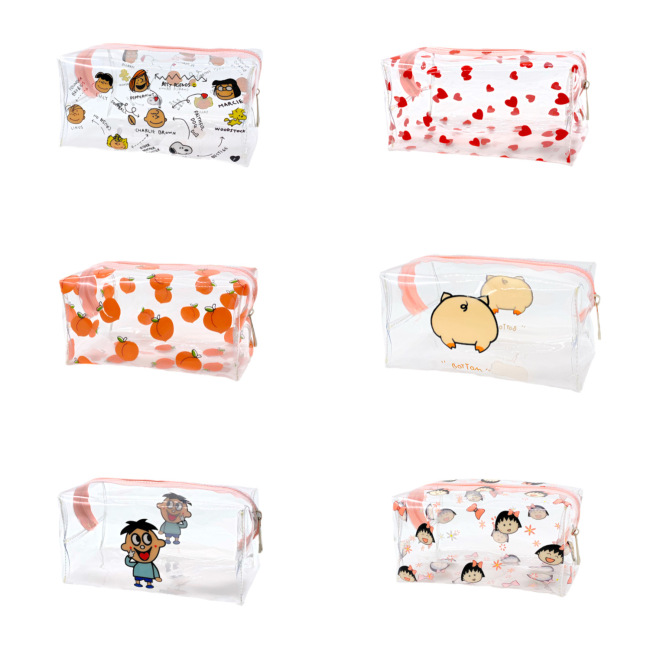 Ins transparent cosmetic bag waterproof wash storage bag smiling face summer love peach cat Charlie PVC