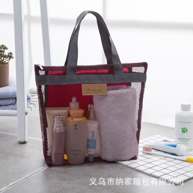 Factory wholesale new summer travel storage net cloth beach wash bag make up bag handbag mesh bag