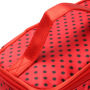 Cross border popular wavelet point handbag with logo double layer small round dot cosmetic bag manufacturer's double layer storage bag