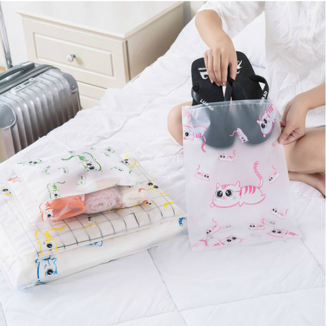 Lovely cat travel waterproof storage bag set clothes underwear shoes wash make up separate storage bag travel