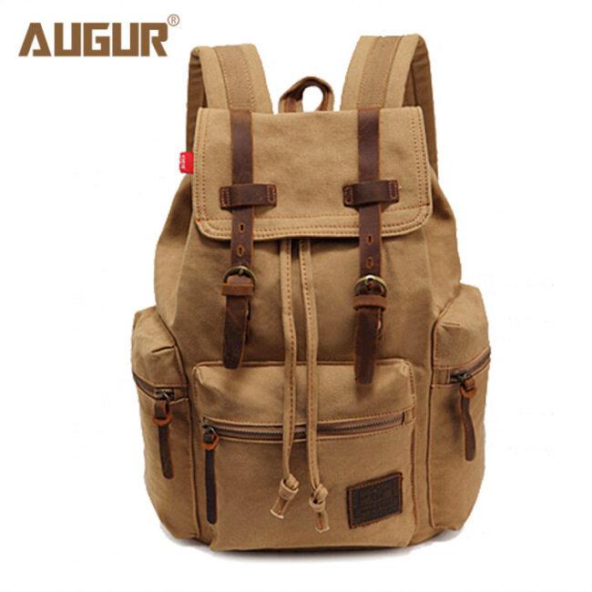 Augur / Aoge canvas bag retro men's bag double shoulder backpack computer bag student schoolbag European and American cross border source